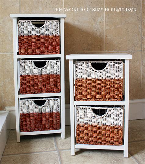 White Wicker Bathroom Drawers by Bathroom Storage Painted Wicker Drawers The Witch At