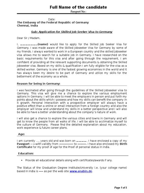 Cover Letter Format German Sle Cover Letter Germany Visa Document