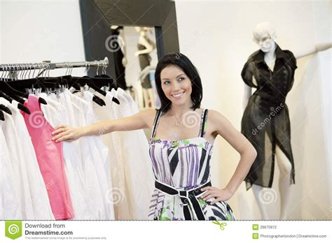 Womans Rack Beautiful Mid Standing By Clothes Rack In