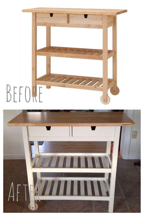 customized  ikea foerhoeja kitchen cart  custom paint  match ikea white ikea