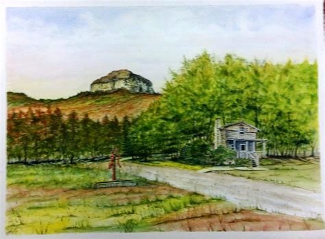 Pilot Mountain Cabins by Pilot Mountain Nc Log Cabin Sold Painting By Richard Benson