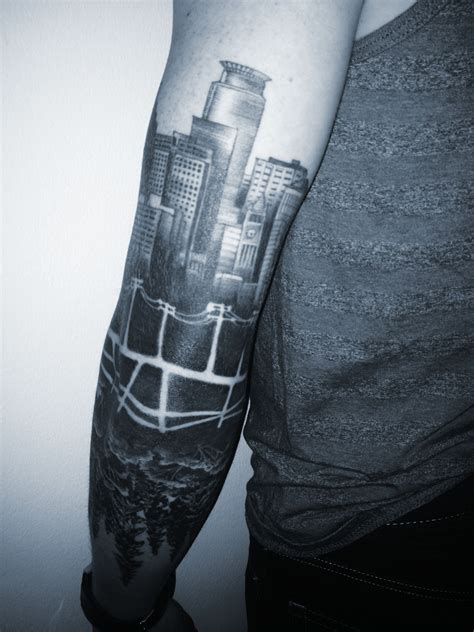 minneapolis skyline tattoo minneapolis skyline reflected forest back of arm