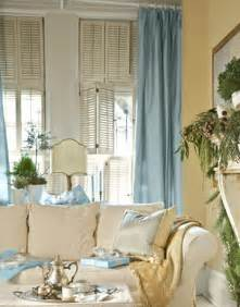 Yellow Walls Blue Curtains Decorating Domestinista Living Room Inspiration Beachy Blue Greens And Built Ins