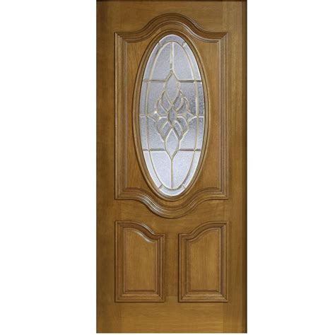 30 Exterior Door With Window Door 30 In X 80 In Mahogany Type 3 4 Oval Glass Prefinished Walnut Beveled Brass Solid