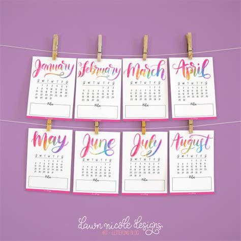 printable calendar 2018 mini free printable hand lettered 2018 mini calendar dawn