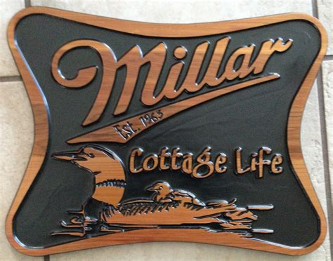 custom wood engraved signs for cottage home and