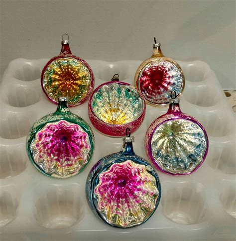 classic christmas tree ornaments 6 indent reflector vintage tree ornaments blown glass shiny and bright west
