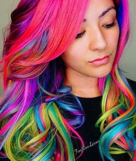 rainbow colored hair 1000 ideas about rainbow hair colors on