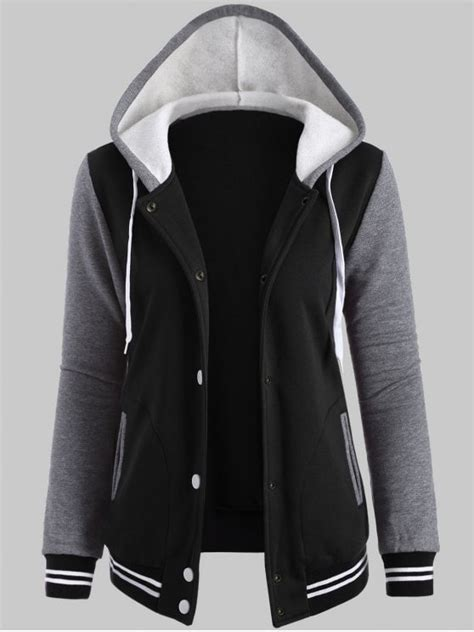 Hooded Baseball Jacket hooded varsity baseball fleece sweatshirt jacket black