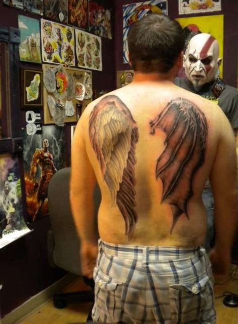angel and demon wing back tattoo