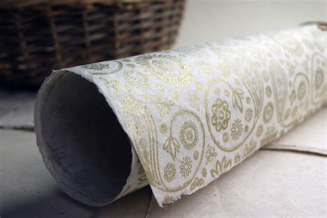 Handmade Paper Roll - golden paisley wholesale invitation wraps sheets and wraps