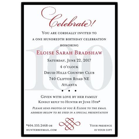 100th Birthday Party Invitations Cobypic Com 100th Birthday Invitation Templates Free