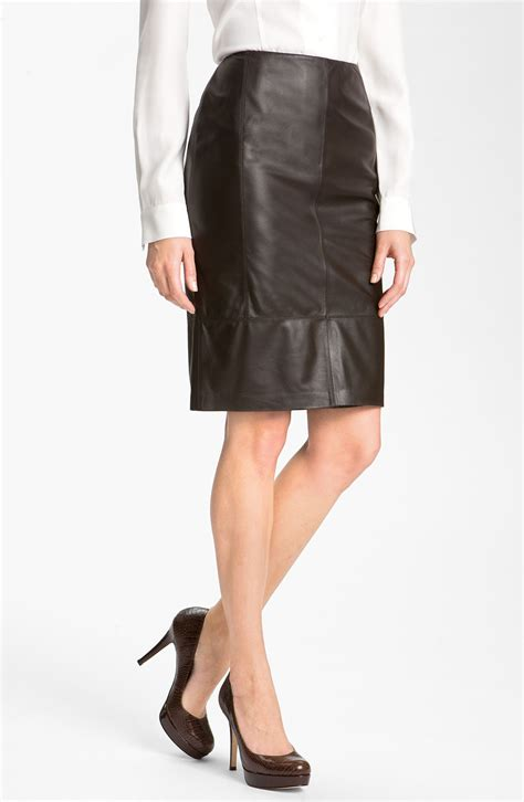 lafayette 148 new york plange lambskin leather skirt in
