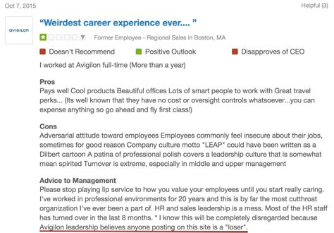 remove negative reviews from glassdoor avigilon employee reviews