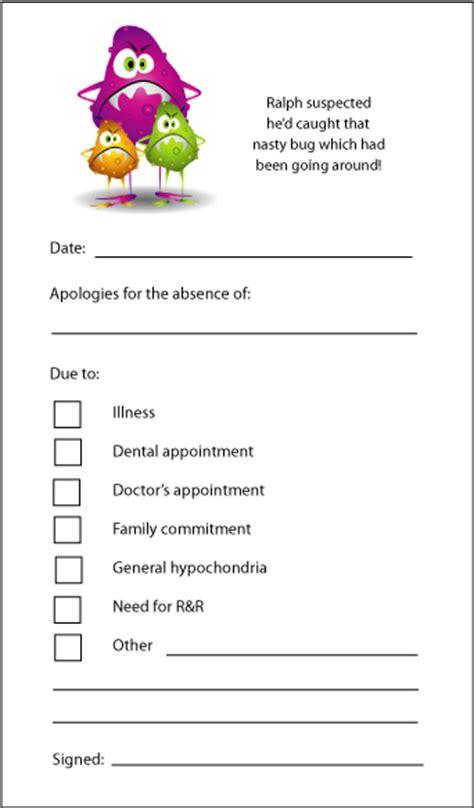 absence notes absence note online personalised stationery