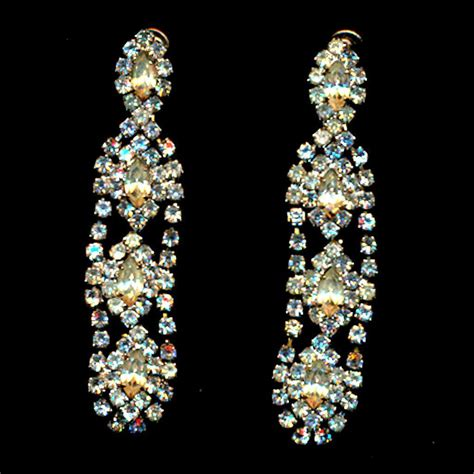 rhinestone earrings vintage hobe crystal rhinestone dangle earrings from