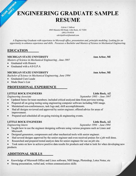 Resume Format For Internship Engineering Engineering Graduate Resume Sle Resumecompanion Resume Sles Across All Industries