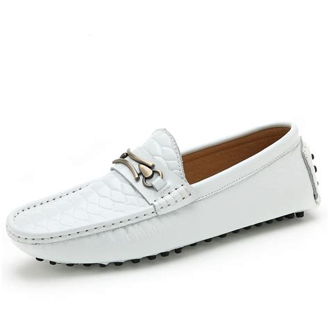 2015 fashion patent leather white mens loafers shoes