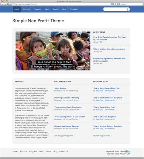 wordpress themes free non profit simple non profit wordpress theme vandelay design