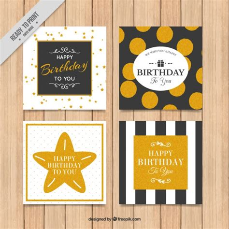 Golden Birthday Card Black And Golden Birthday Cards Vector Free Download