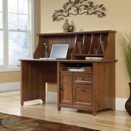 sauder edge water computer desk with hutch auburn cherry