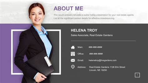 Clean About Me Real Estate Powerpoint Slide Slidestore About Me Powerpoint Template