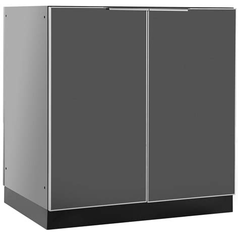 Outdoor Cabinet Doors Newage Products Aluminum Slate 32 In 2 Door Base 32x35x24 In Outdoor Kitchen Cabinet 65200