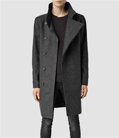 allsaints grove coat in gray for lyst