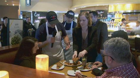 firefighters officers square in cooking for a