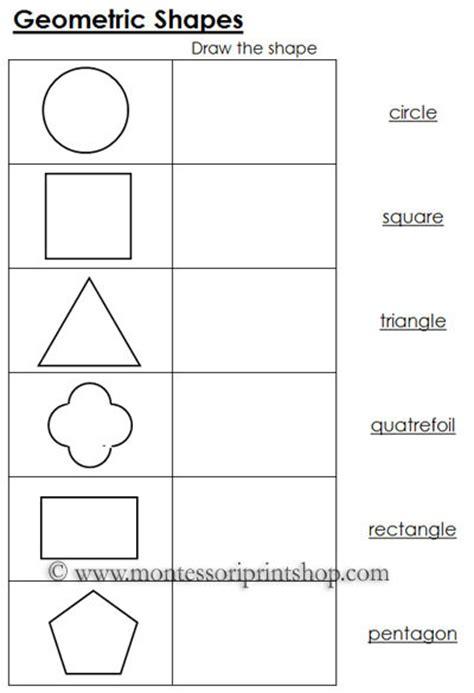 printable montessori pdf worksheets for geometric shapes black line masters for 12