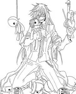 black butler coloring pages grell sutcliffe lineart by sweetlittlevire on deviantart