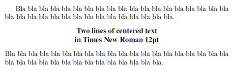 fonts two lines of 12 pt times new bold in an otherwise standard document tex