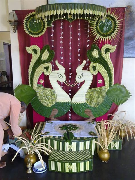 Traditional vwedding decor with coconut leaves.gok kola