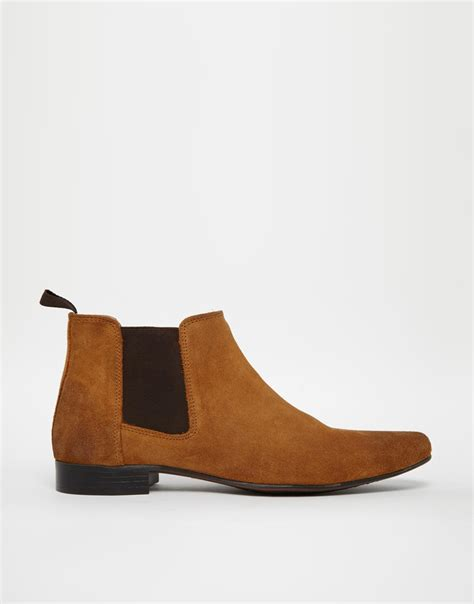 asos chelsea boots mens asos chelsea boots in suede in brown for lyst
