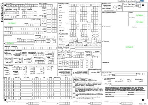 patient report form template west midlands ambulance service patient report form