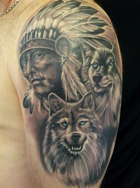 indian wolf tattoo 32 indian chief wolf tattoos