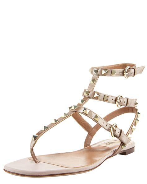 valentino gladiator sandals valentino rockstud gladiator sandal in beige lyst
