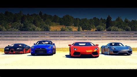 bugatti lamborghini ferrari drag race bugatti veyron ss vs porsche 918 vs lamborghini