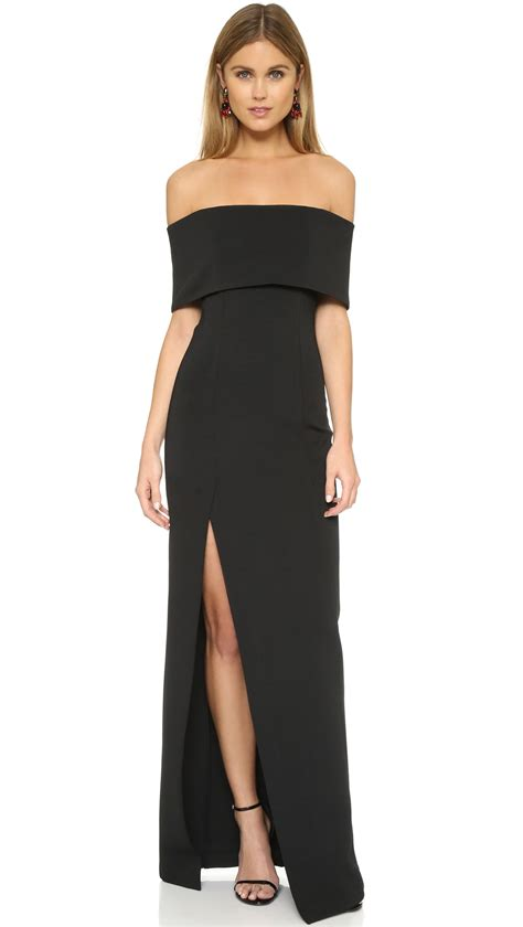 Black Shoulder Dress nicholas bandage shoulder gown in black lyst