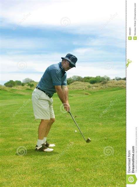 middle aged man playing golf stock image image