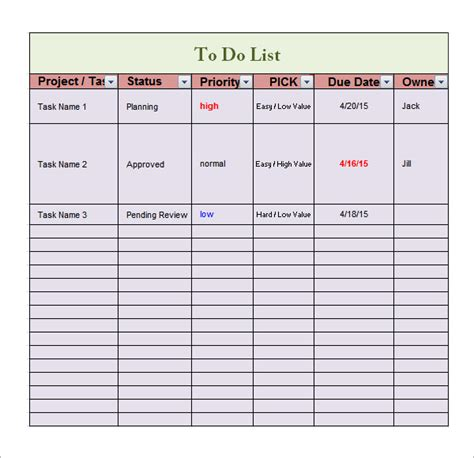to do spreadsheet template to do list template 16 free documents in word