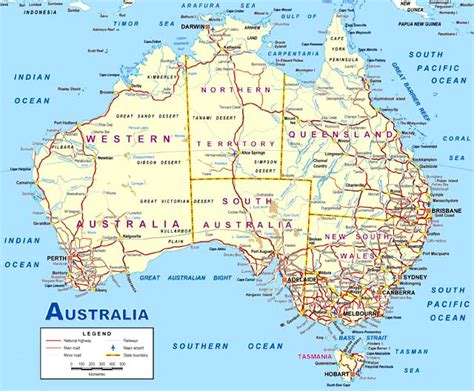 road map of eastern australia map of australia this detailed map of australia is