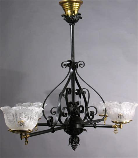 Genuine Antique Lighting 4 Light Wrought Iron Gas Billiard Chandelier