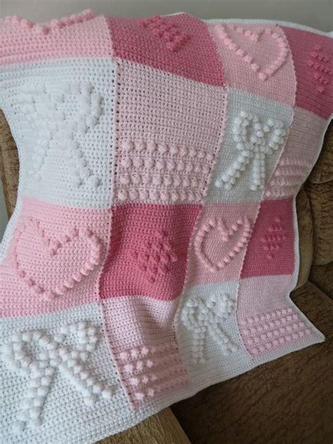 pattern crochet lap blanket hand knitted crochet bobble heart and bowknot blanket free