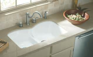 White Undermount Kitchen Sinks Kohler K 6626 6u 0 Langlade Smart Divide Undercounter Kitchen Sink White Bowl Sinks