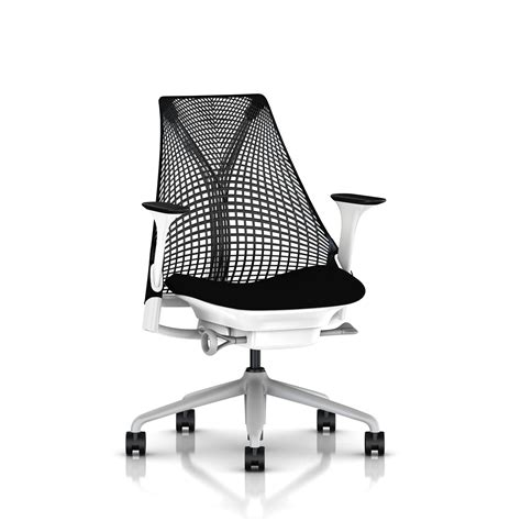 black and white desk chair herman miller all black sayl chair office furniture scene