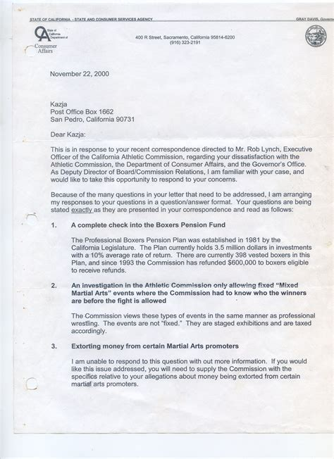 Proof Of Pension Letter california state athletic commission fraud