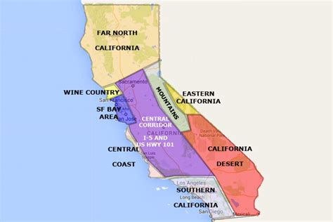 map of california state best california state by area and regions map