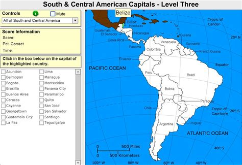 america interactive map interactive map of south and central america capitals of