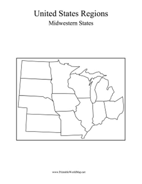Blank Us Map Midwest States